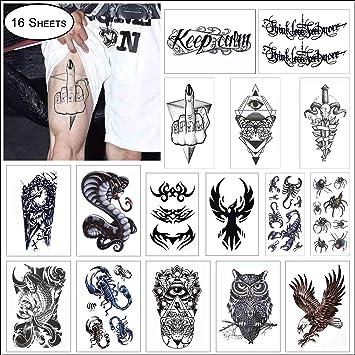 Amazon Com Cokohappy 16 Sheets Black Large Temporary Tattoo For