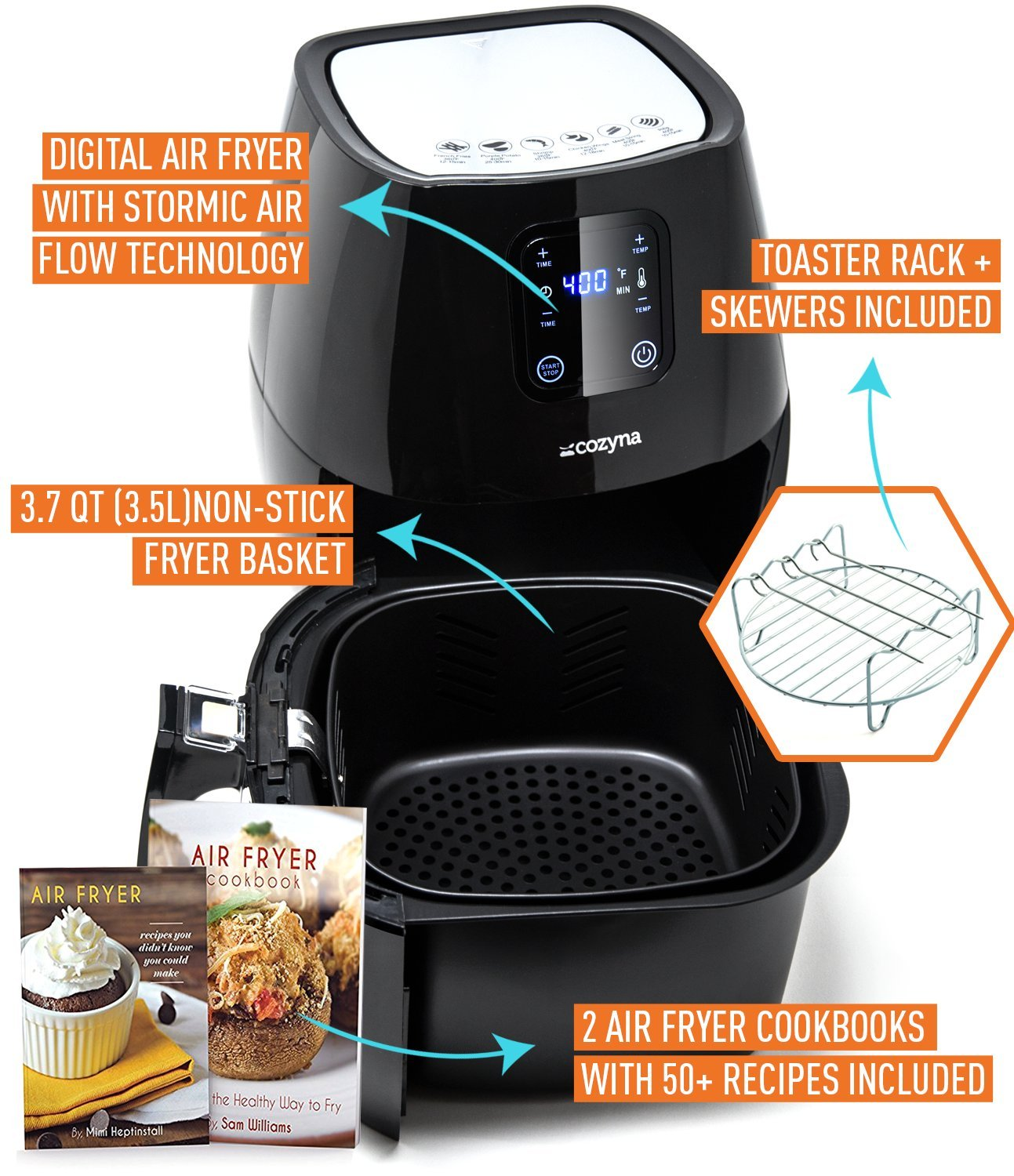 Cozyna SAF-32 Digital Air Fryer Touchscreen (3.7QT) with 2 airfryer cookbooks and a Skewer Rack Accessory by Cozyna (Image #2)