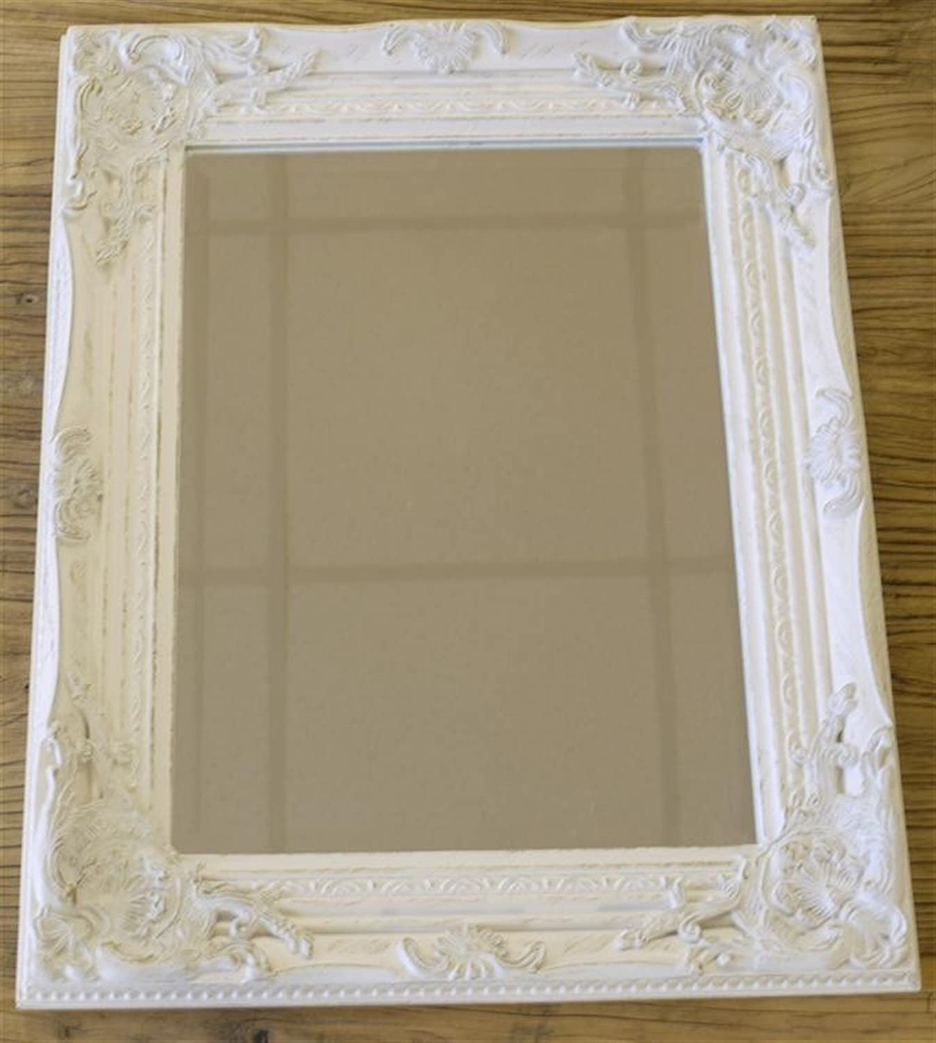 Distressed Antique French Ornate Style White Wall Mirror Shabby Chic Amazoncouk Kitchen Home