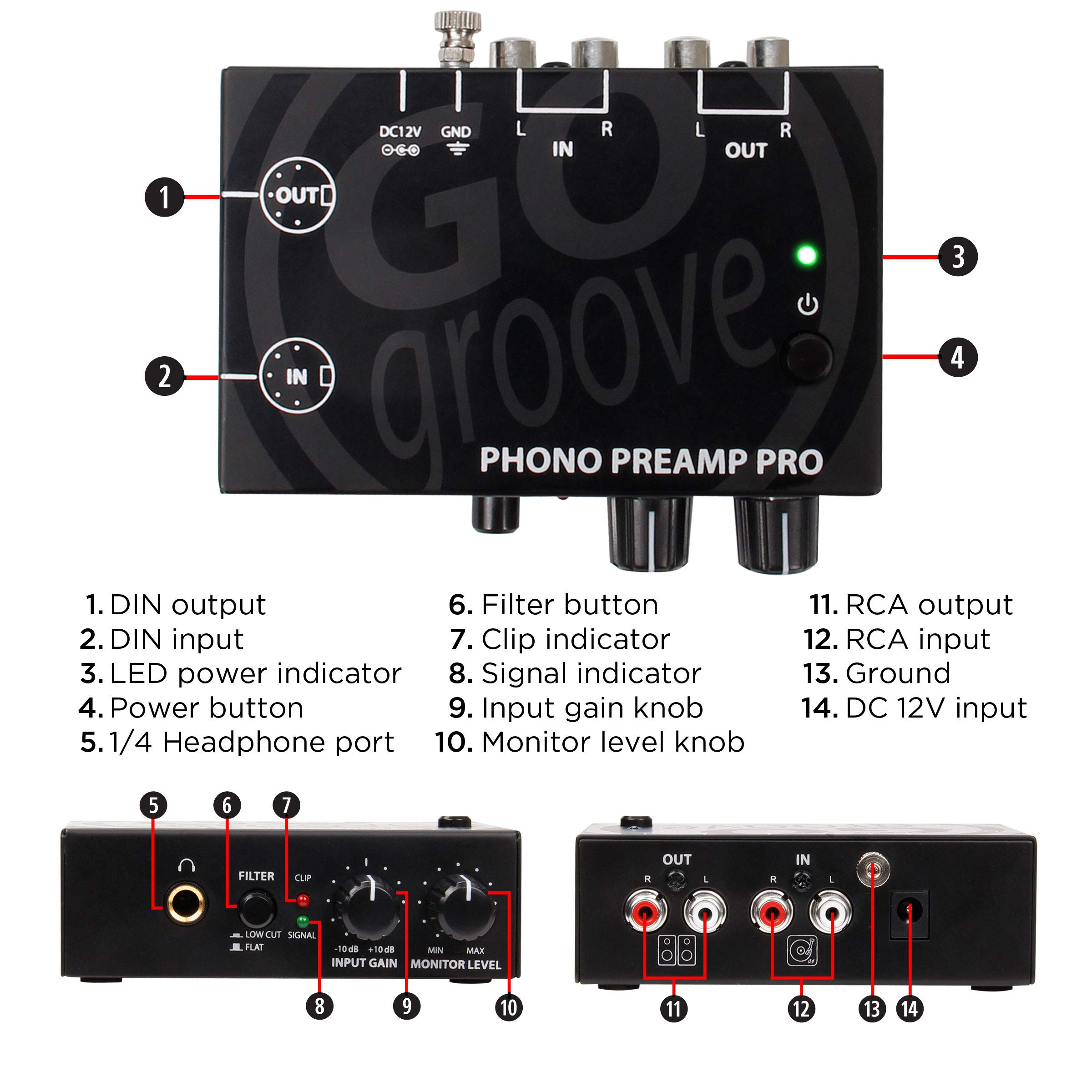 GOgroove Phono Preamp Pro Preamplifier with RCA Input/Output, DIN Connection, RIAA Equalization, 12V AC Adapter - Compatible with Vinyl Record Players, Turntables, Stereos, DJ Mixers by GOgroove (Image #4)