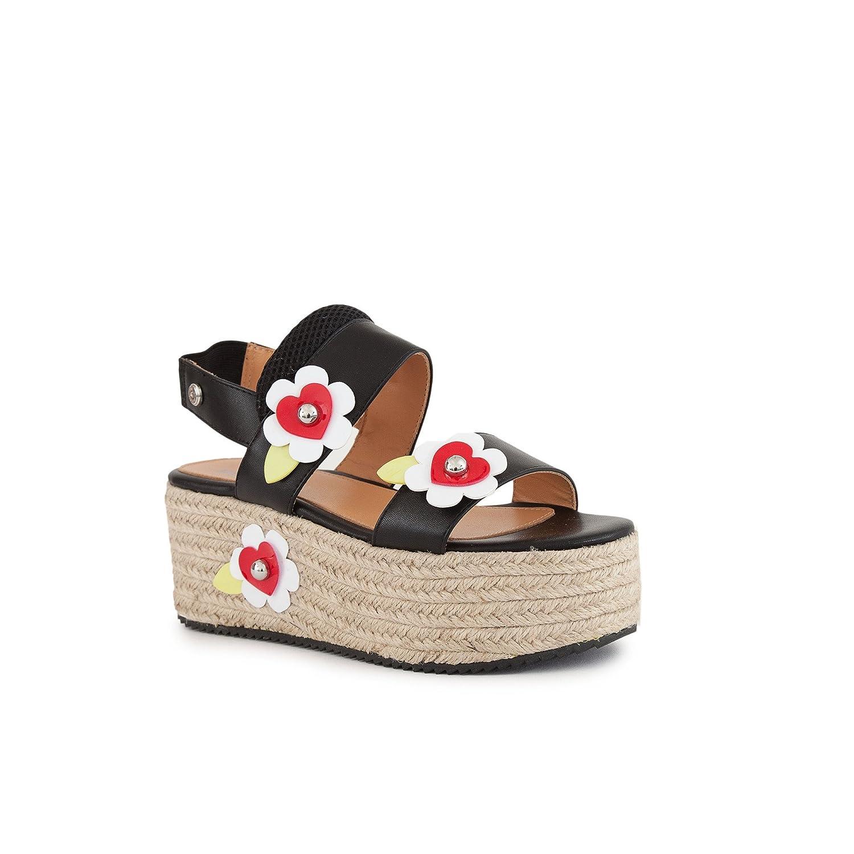 Love Moschino Womens Leather Platform Sandal w/Flowers B078ZKXFF4 Parent
