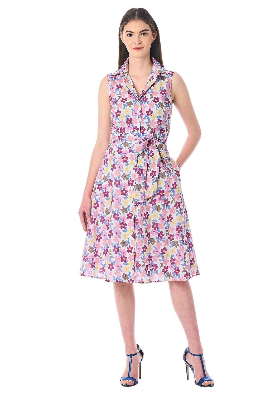 Vintage Tea Dresses, Floral Tea Dresses, Tea Length Dresses eShakti Womens Floral Print Cotton shirtdress $54.95 AT vintagedancer.com