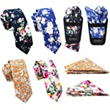 """Mens Casual Skinny Floral Tie Combo Set with Flower Pocket Square 2½"""" Cotton Necktie Hand Made by ZENXUS"""