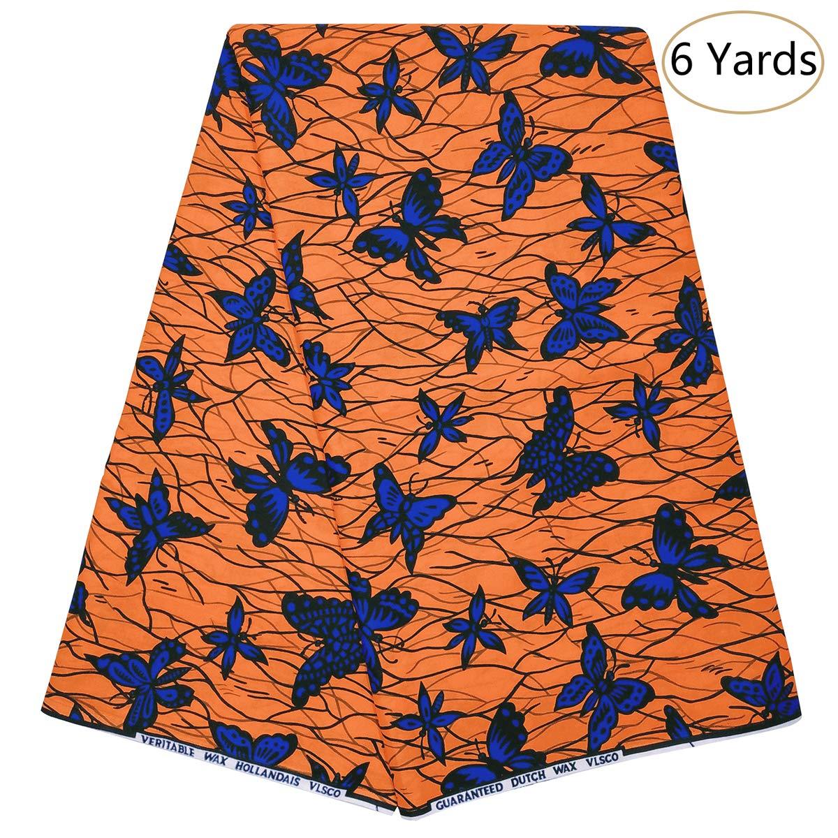 Dexuelan 6 Yards Ankara African Batik Wax Fabric 100% Cotton African Super Wax Print Fabric for Sewing Dress Clothing