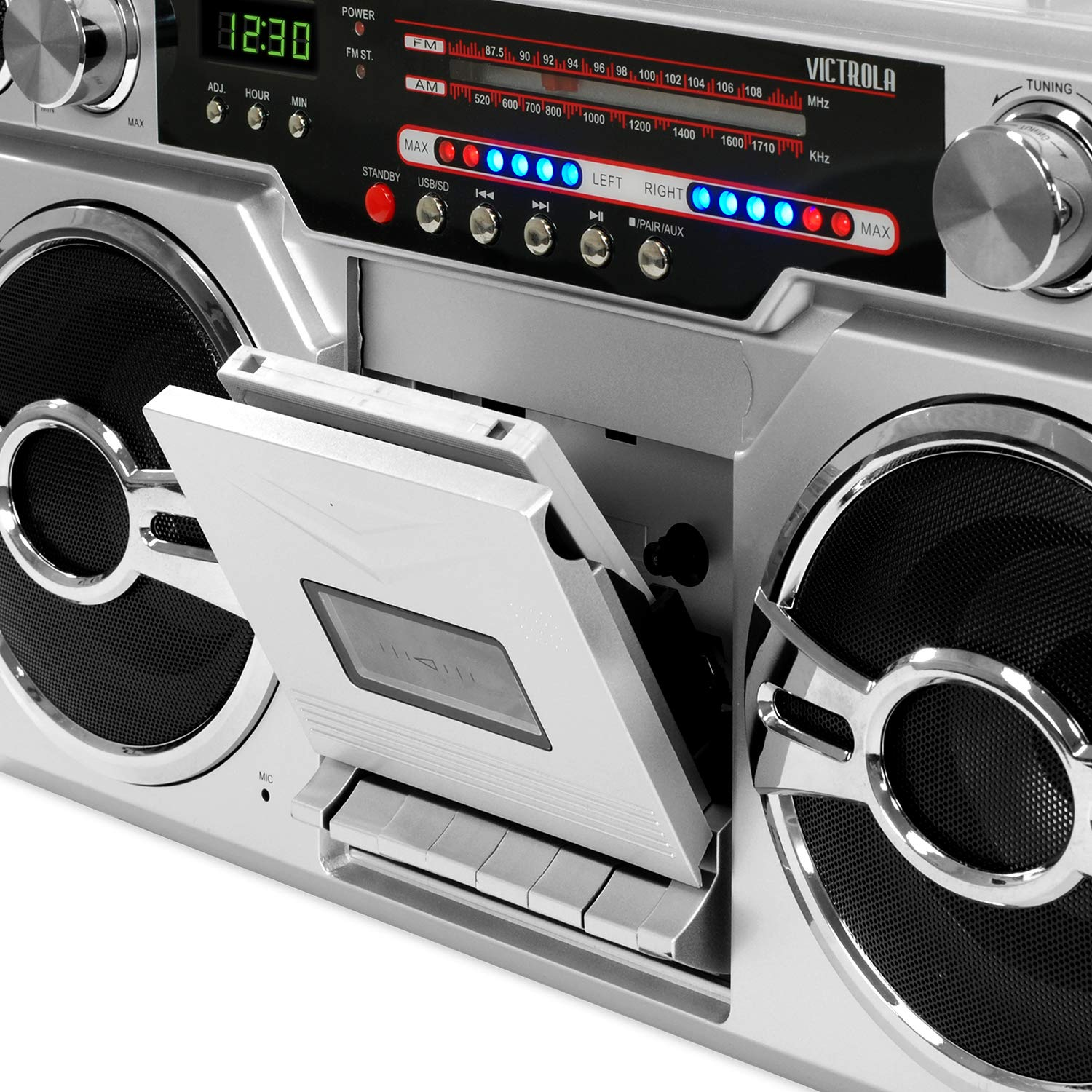 Victrola VBB-10-SLV 1980's Bluetooth Boombox with Cassette Player and AM/FM Radio, Silver by Victrola (Image #2)