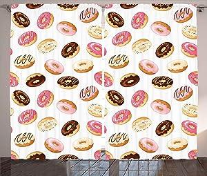 Ambesonne Food Curtains, American Traditional Classic Breakfast Fast Food Dessert Tasty Donuts Art Print, Living Room Bedroom Window Drapes 2 Panel Set, 108