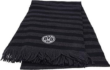 Schwarzgrau 180 cm x 35 cm Borussia Dortmund Streifenschal Wolle//Polyacryl BVB-Emblem Schwarz Saison 17//18