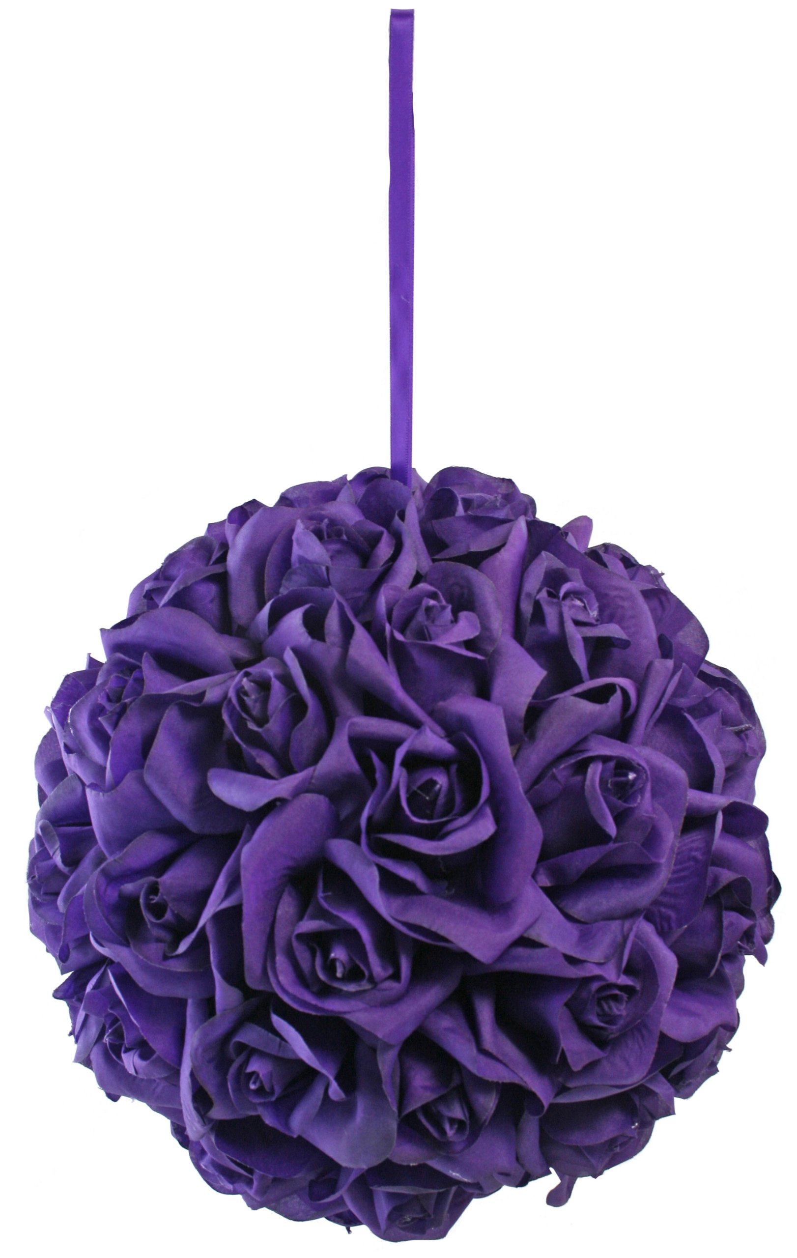 Garden-Rose-Kissing-Ball-Purple-10-Inch-Pomander-Extra-Large