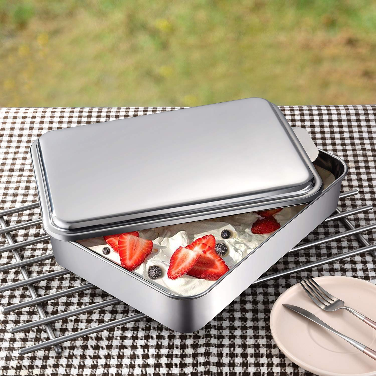 Mr Rudolf 18/10 Stainless Steel 9 X 13 Inches Bakeware Rectangle Cake Pan with Removable Lid Cheesecake Pan Leakproof
