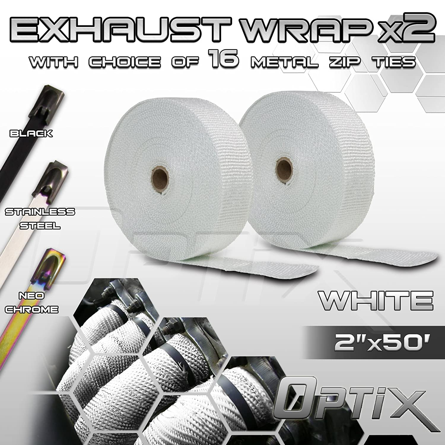 Optix 2' (W) x 50' (L) Thermal Header Exhaust Wrap Kit - Heat Shield Tape with Stainless Steel Zip Ties - 2 Rolls - Black Third Gear Performance