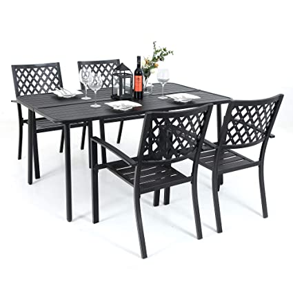 Outstanding Mf Metal Outdoor Patio Dining Chairs And Larger Rectangular Table Furniture Set Of 5 Black Gmtry Best Dining Table And Chair Ideas Images Gmtryco