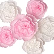 KEY SPRING Paper Flower Decorations, Giant Paper Flowers, Large Crepe Paper Flowers, Handcrafted Flowers (Pink, White Set of 6) for Wedding Backdrop, Nursery Wall Decoration, Baby Shower