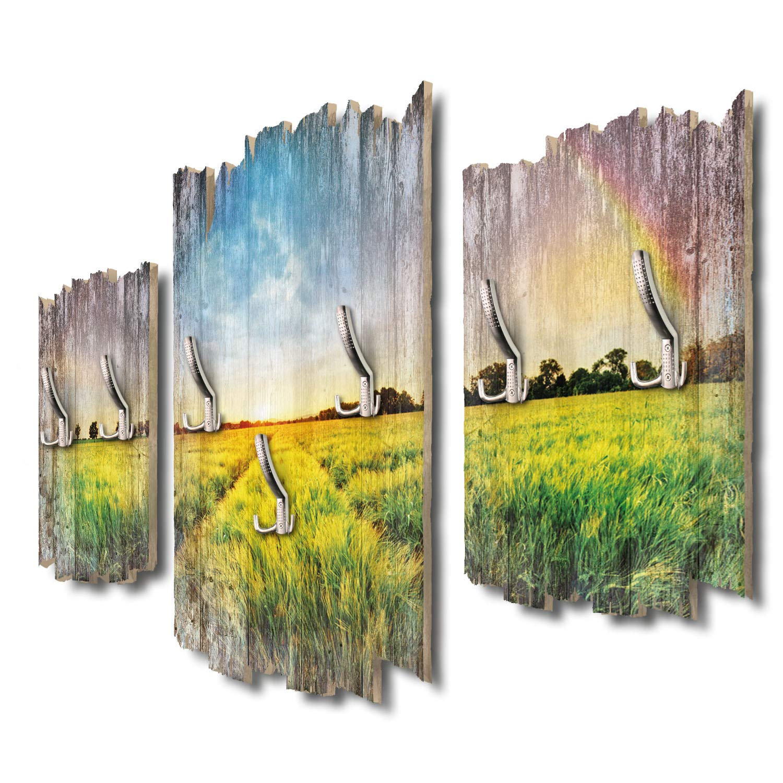 Kreative Feder Land-Idylle Designer Wandgarderobe Flurgarderobe Wandpaneele 95 x 60 cm aus MDF-Holz DTGH019