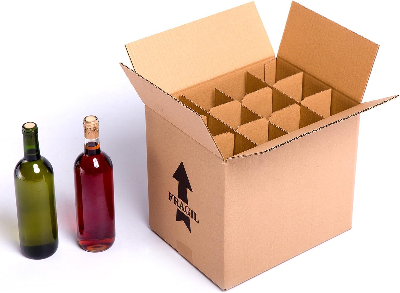(15x) Caja para botellas de vino CON separadores de cartón rejilla | TELECAJAS (Para 12 Botellas) (PACK DE 15 UNIDADES)