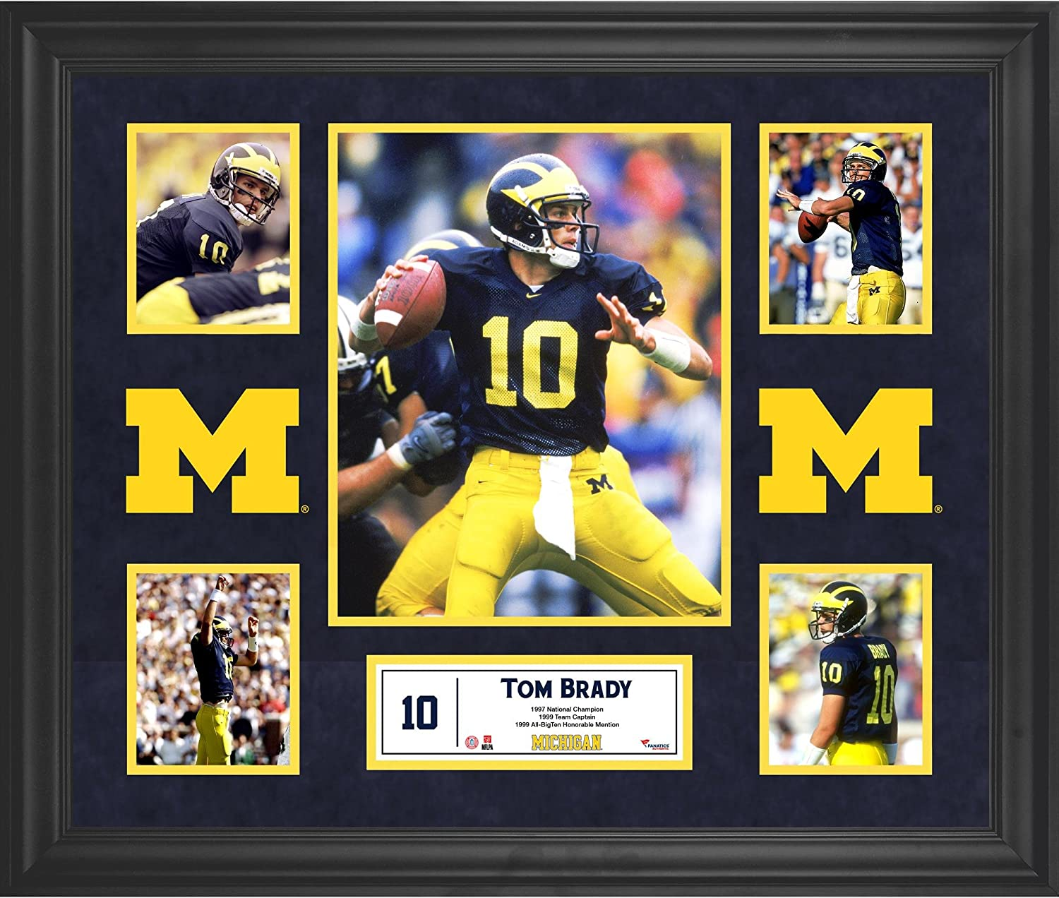 Tom Brady Michigan Wolverines Framed 5-Photo Collage - College Player Plaques and Collages