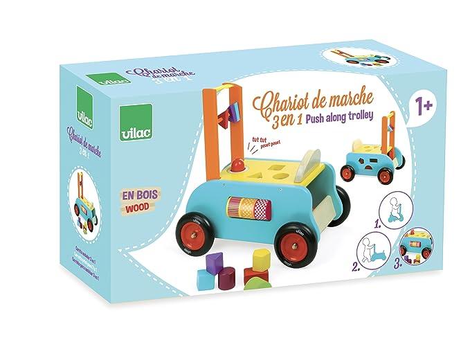 6704ed645623 Vilac - 1006S - Chariot de Marche 3 en 1 - Chariot de Marche - Porteur Table  de Jeu Multi-activité  Amazon.fr  Jeux et Jouets