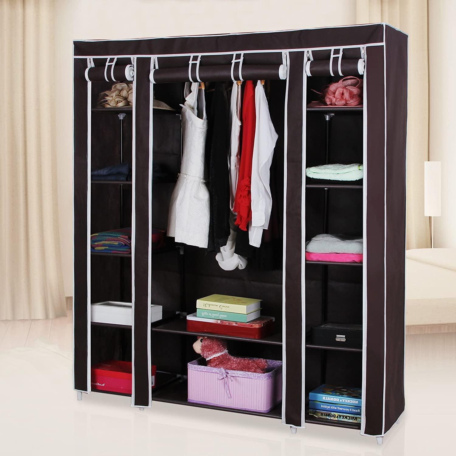 storage wardrobes clothes giantex on wardrobe home non organizer from in closet bedroom woven fabric item furniture modern portable