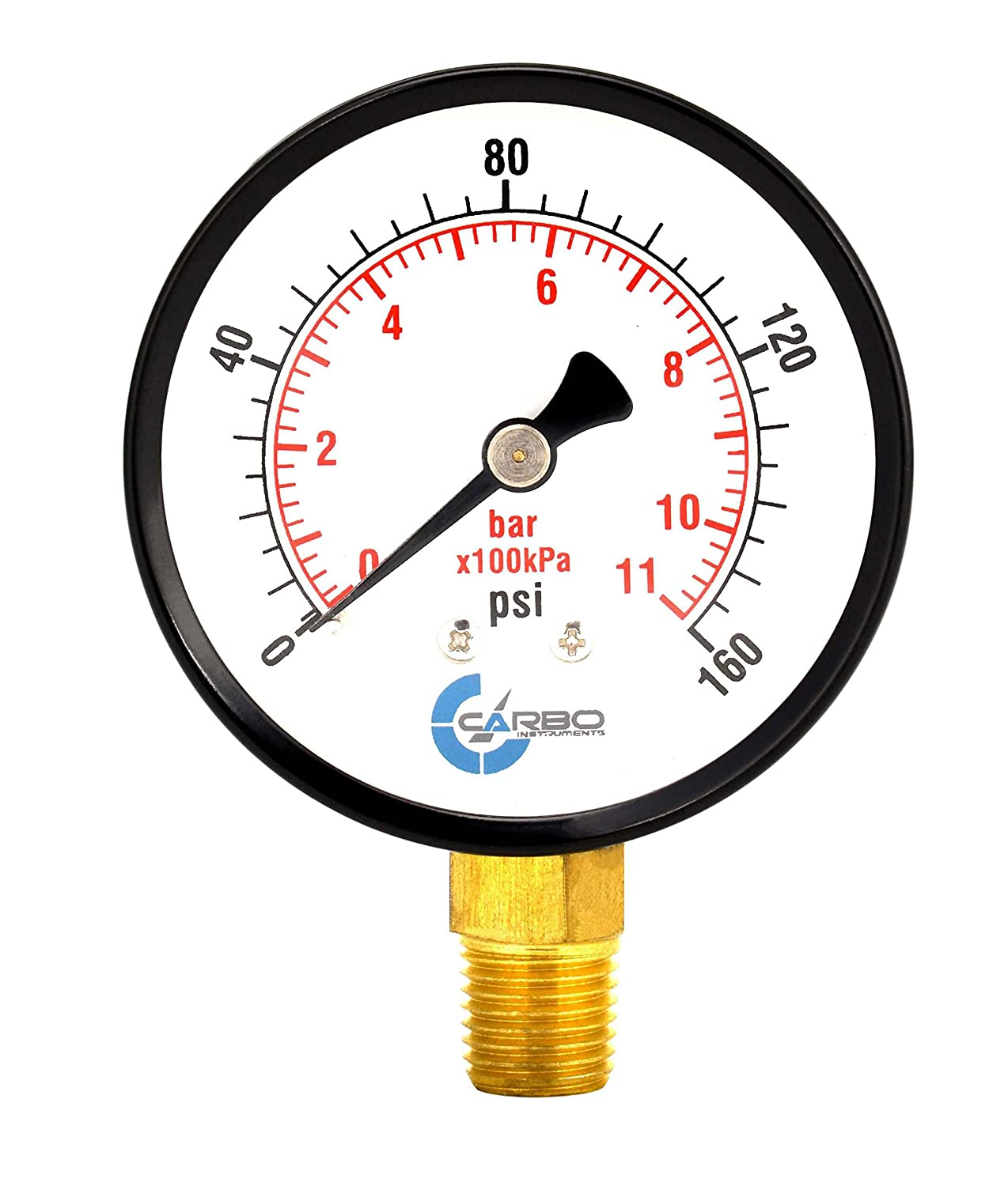0-160 psi//kPa Dry Lower Mount 1//4 NPT CARBO Instruments 2-1//2 Pressure Gauge Chrome Plated Steel Case