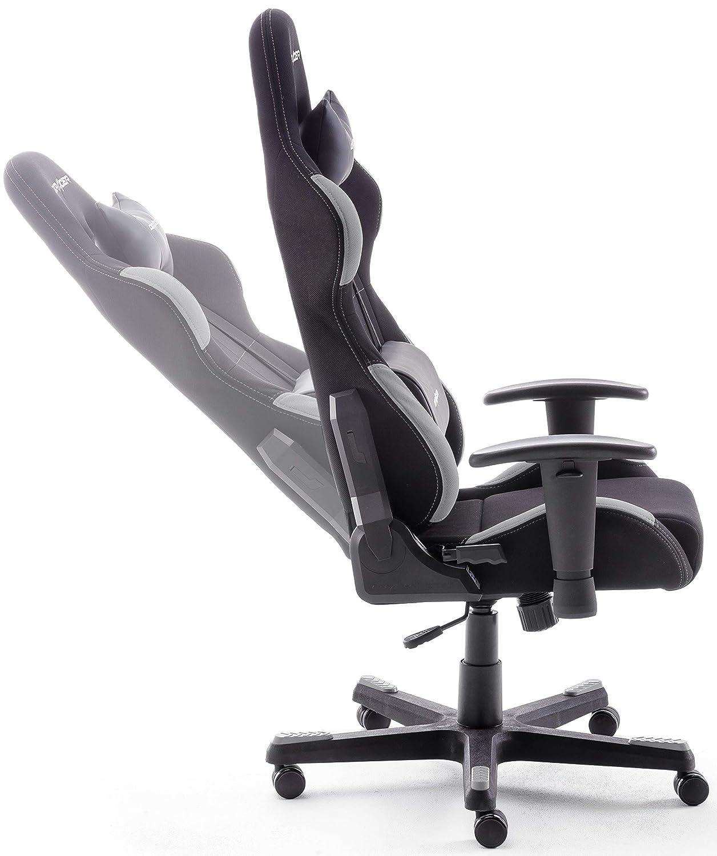 DX Racer5 Sedia da Gioco Sedia da scrivania Sedia da Ufficio Gaming Chair Nero//Grigio 78 x 52 x 124-134 cm