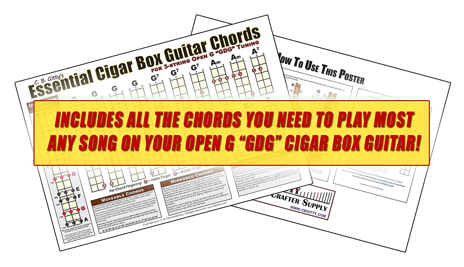 Amazon C B Gitty Open G Gdg Essential Cigar Box Guitar Chords