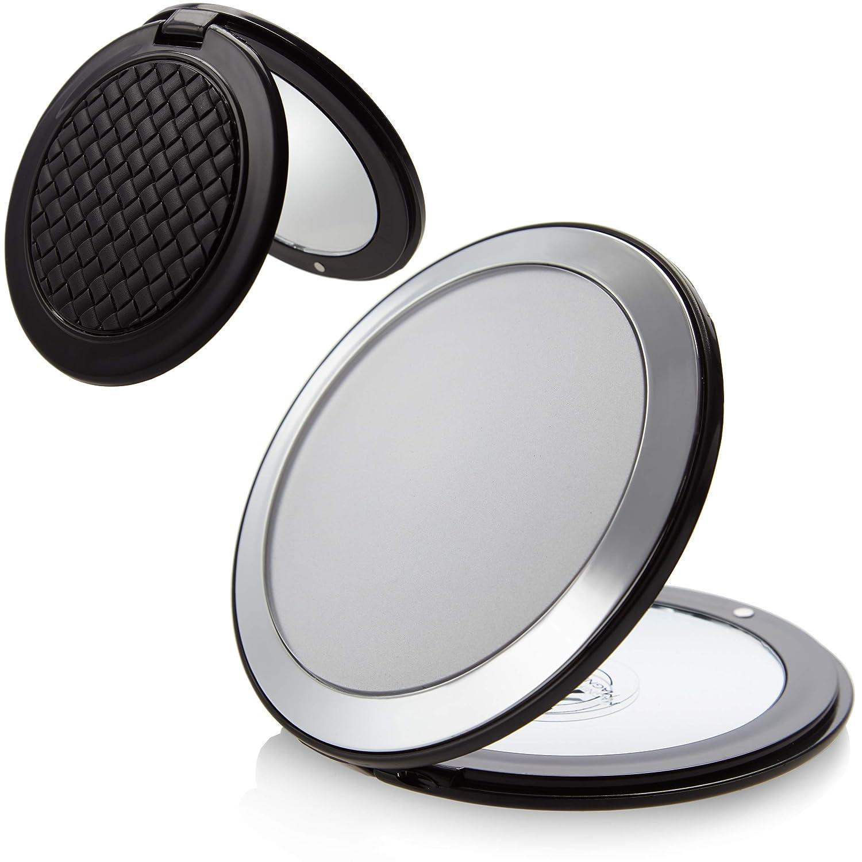 Taschenspiegel Rund Zum Klappen Make Up Spiegel Klein Makeup Spiegel 8 5 Cm Normal Und 7 Fache Vergrößerung Zweiseitig Reise Klappspiegel Aus Kunststoff In Schwarz Und Silber Fantasia Beauty