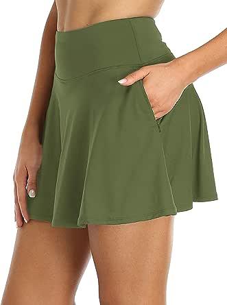 Oalka Women's Pleated Skirt with Pockets High Waist Sports Athletic Running Shorts Golf Tennis Skorts