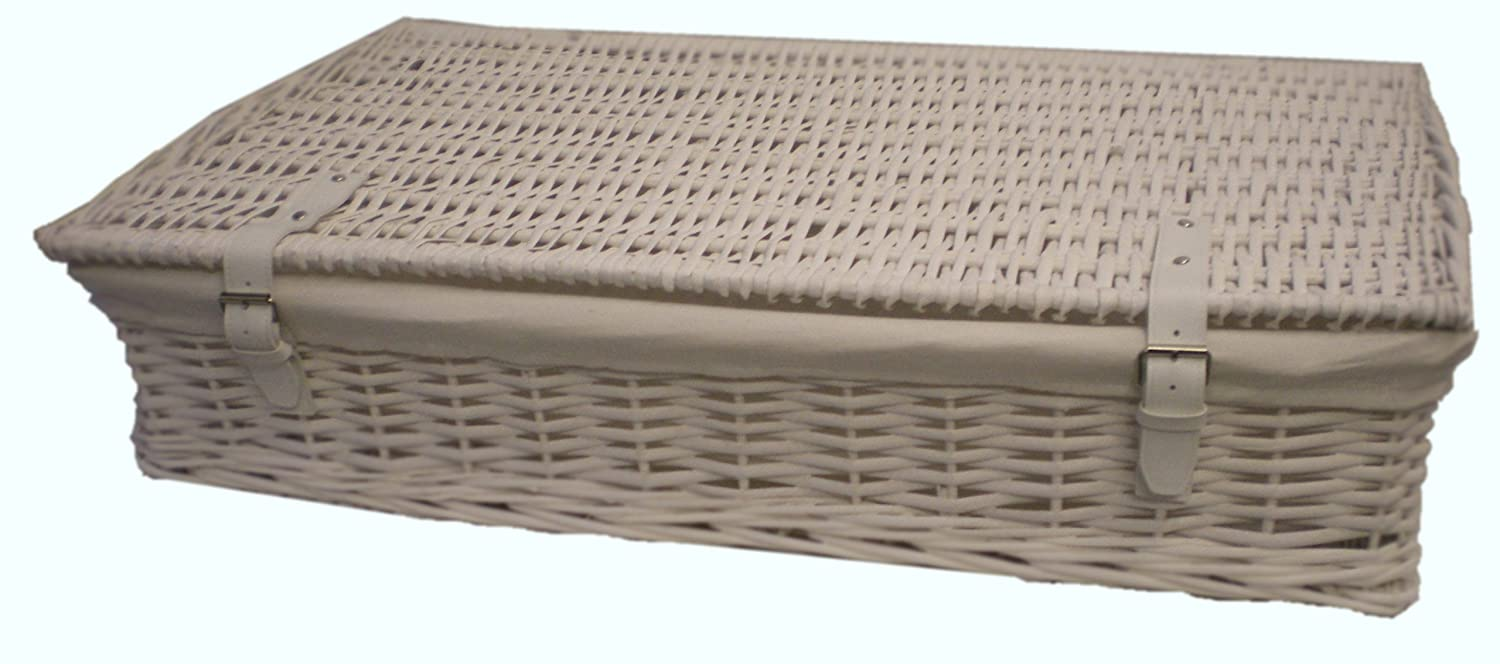 Home underbed storage baskets wicker underbed storage basket - White Wicker Underbed Storage Basket Larger Size Amazon Co Uk Garden Outdoors