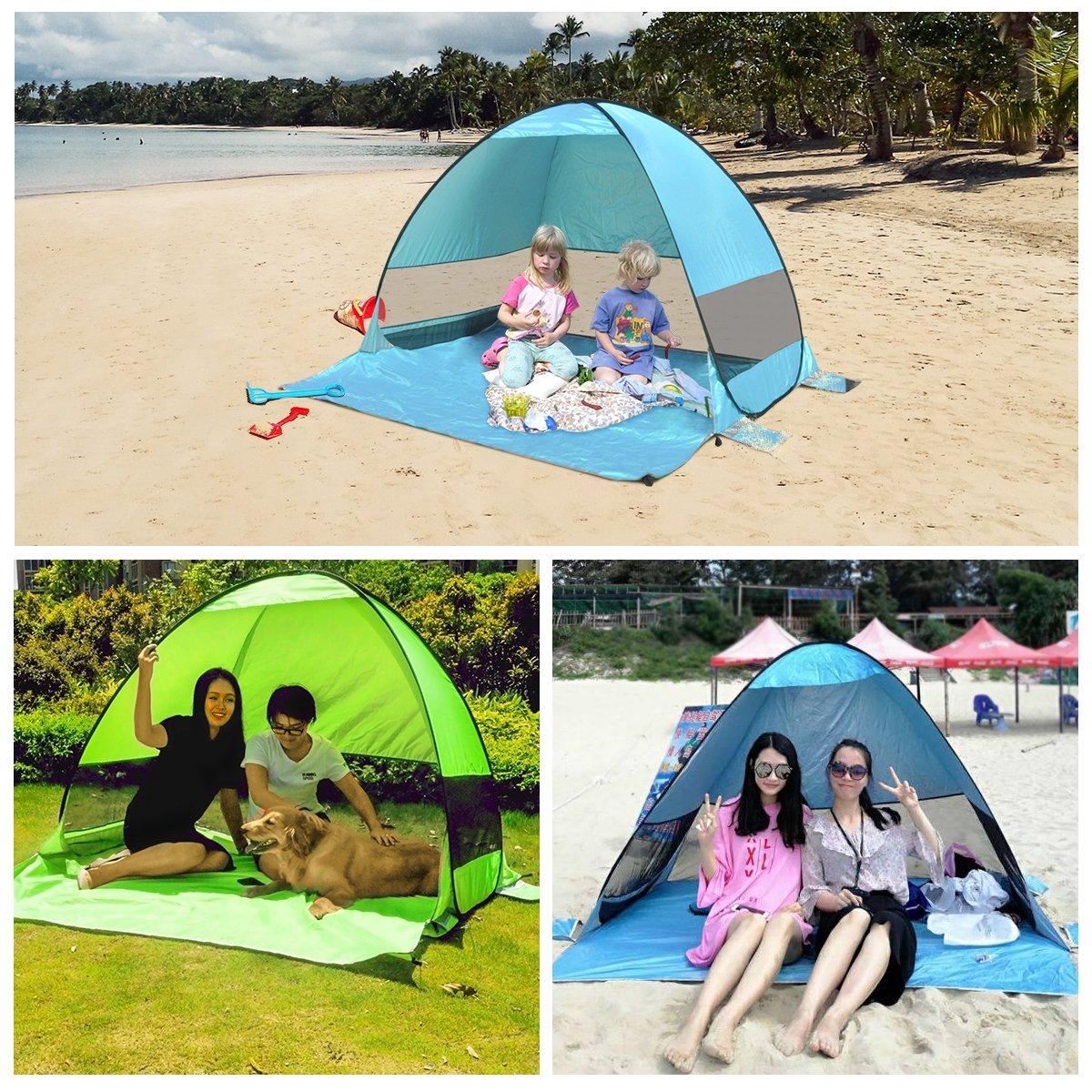 SLB Strandmuschel mit Lüftungsfester - Pop Up Strand-Zelt Automatik Windschutz Familie für Strand Freibad Garten See Angeln Balkon Terrasse (Blue)