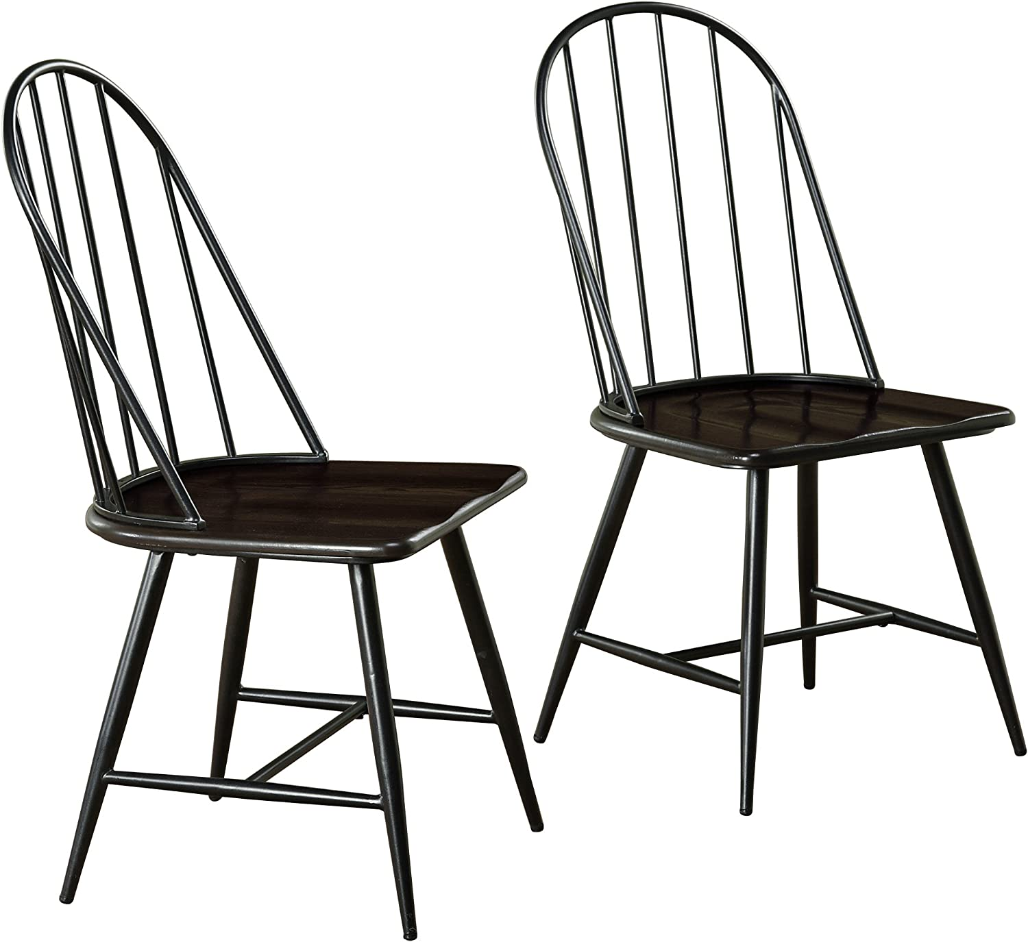 Target Marketing Systems Windsor Set of 2 Mixed Media Spindle Back Dining Chairs with Saddle Seat, Set of 2, Black Espresso