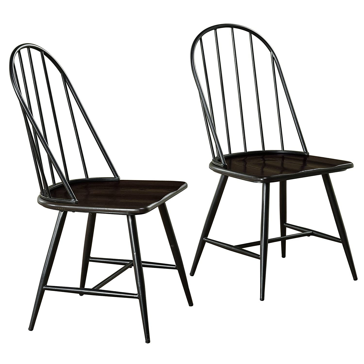 Target Marketing Systems Windsor Set of 2 Mixed Media Spindle Back Dining Chairs with Saddle Seat - Set of 2 - Black-