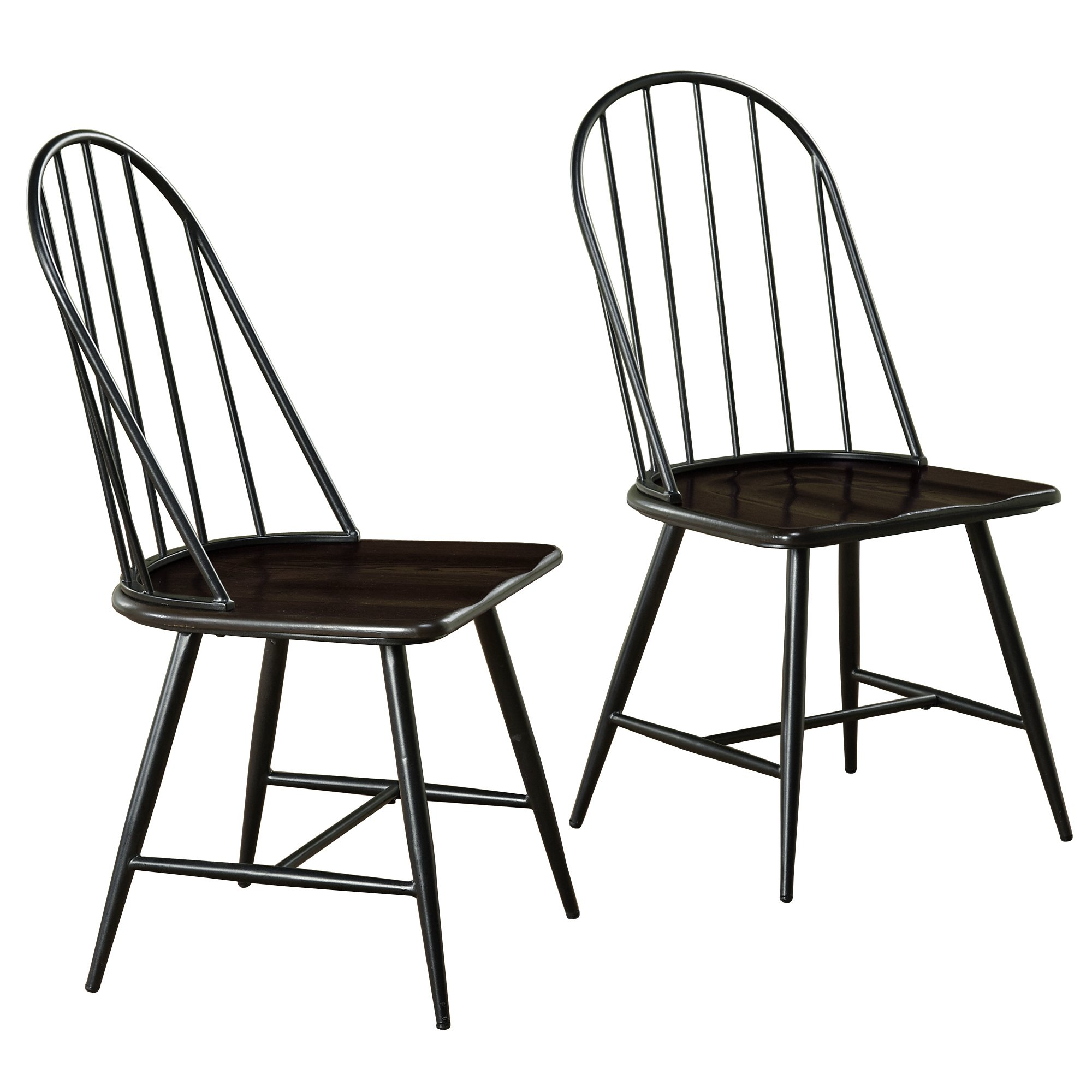 Target Marketing Systems Windsor Set of 2 Mixed Media Spindle Back Dining Chairs with Saddle Seat, Set of 2, Black/Espresso by Target Marketing Systems