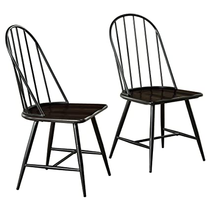 Target Marketing Systems Windsor Set Of 2 Mixed Media Spindle Back Dining Chairs With Saddle Seat Set Of 2 Black Espresso