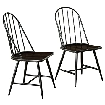 Wondrous Target Marketing Systems Windsor Set Of 2 Mixed Media Spindle Back Dining Chairs With Saddle Seat Set Of 2 Black Espresso Gamerscity Chair Design For Home Gamerscityorg