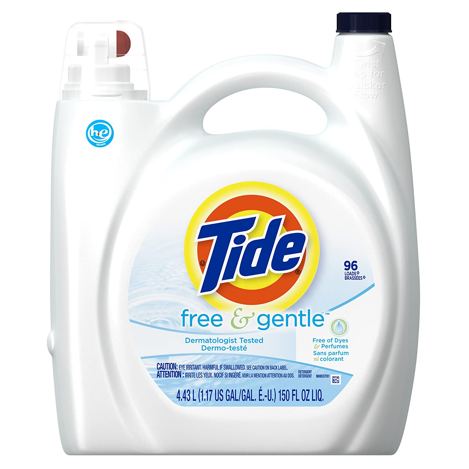 Tide Liquid Laundry Detergent, Free & Gentle, HE, 150 Ounce, 96 Loads