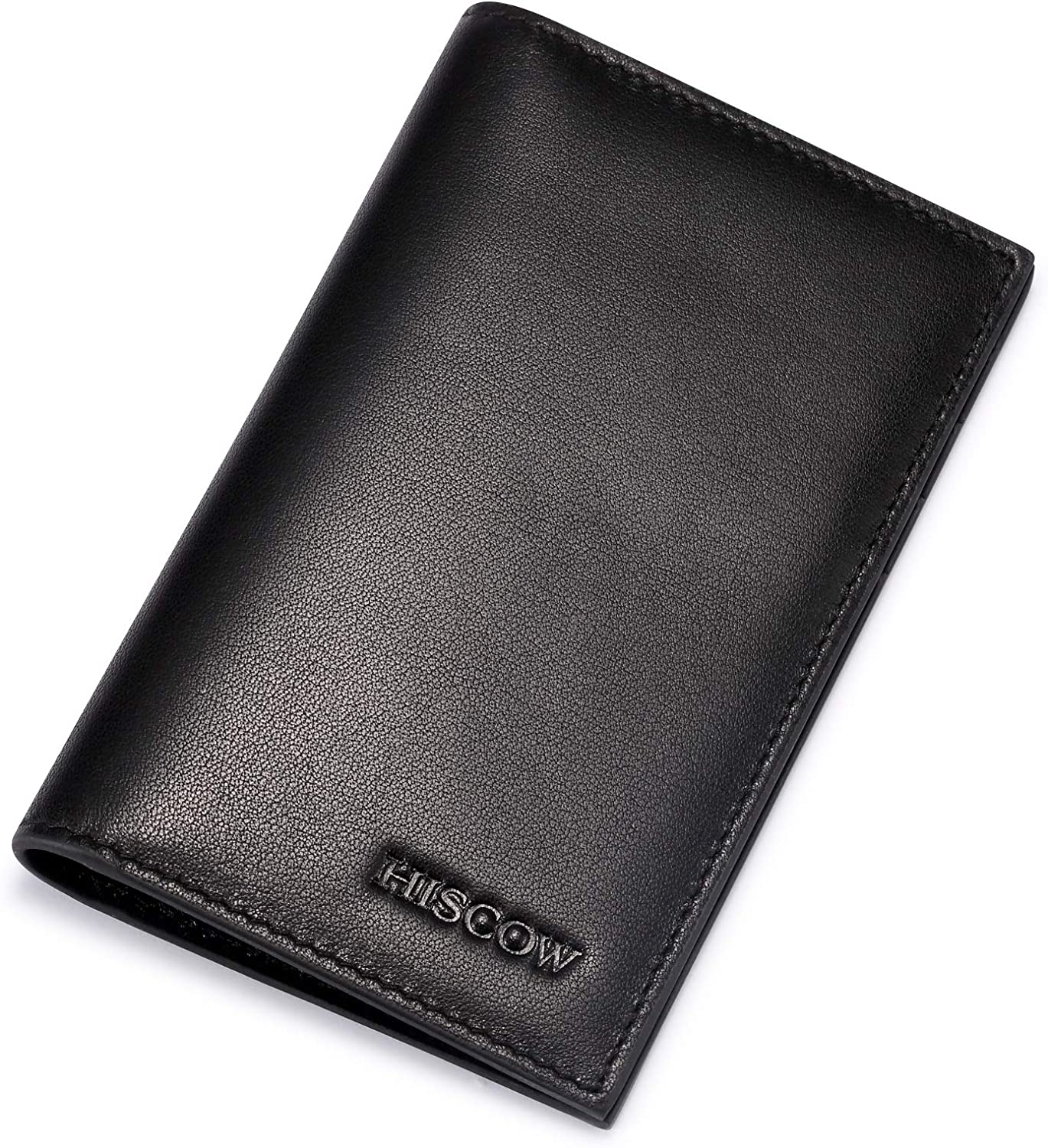 Full Grain Leather HISCOW Bifold Credit Card Holder 8cc