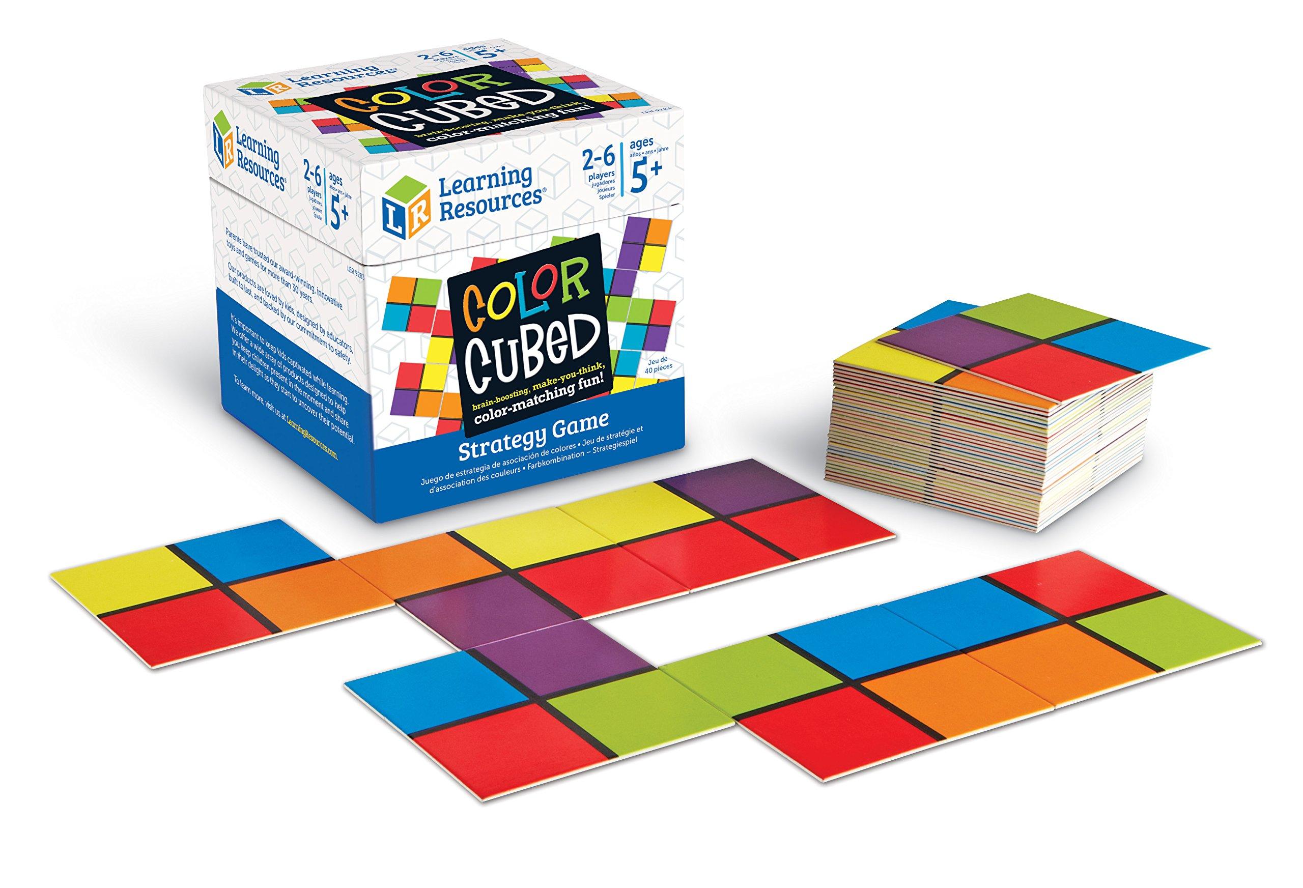 Recursos de aprendizaje Juego de estrategia en cubos de colores, potenciación del cerebro para 2-6 jugadores, 40 piezas, mayores de 5 años