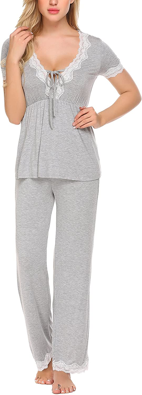 Ekouaer Womens Short Sleeve Sleepwear V-Neck Top and Pant Pajama PJ Set,Flower Grey,X-Large