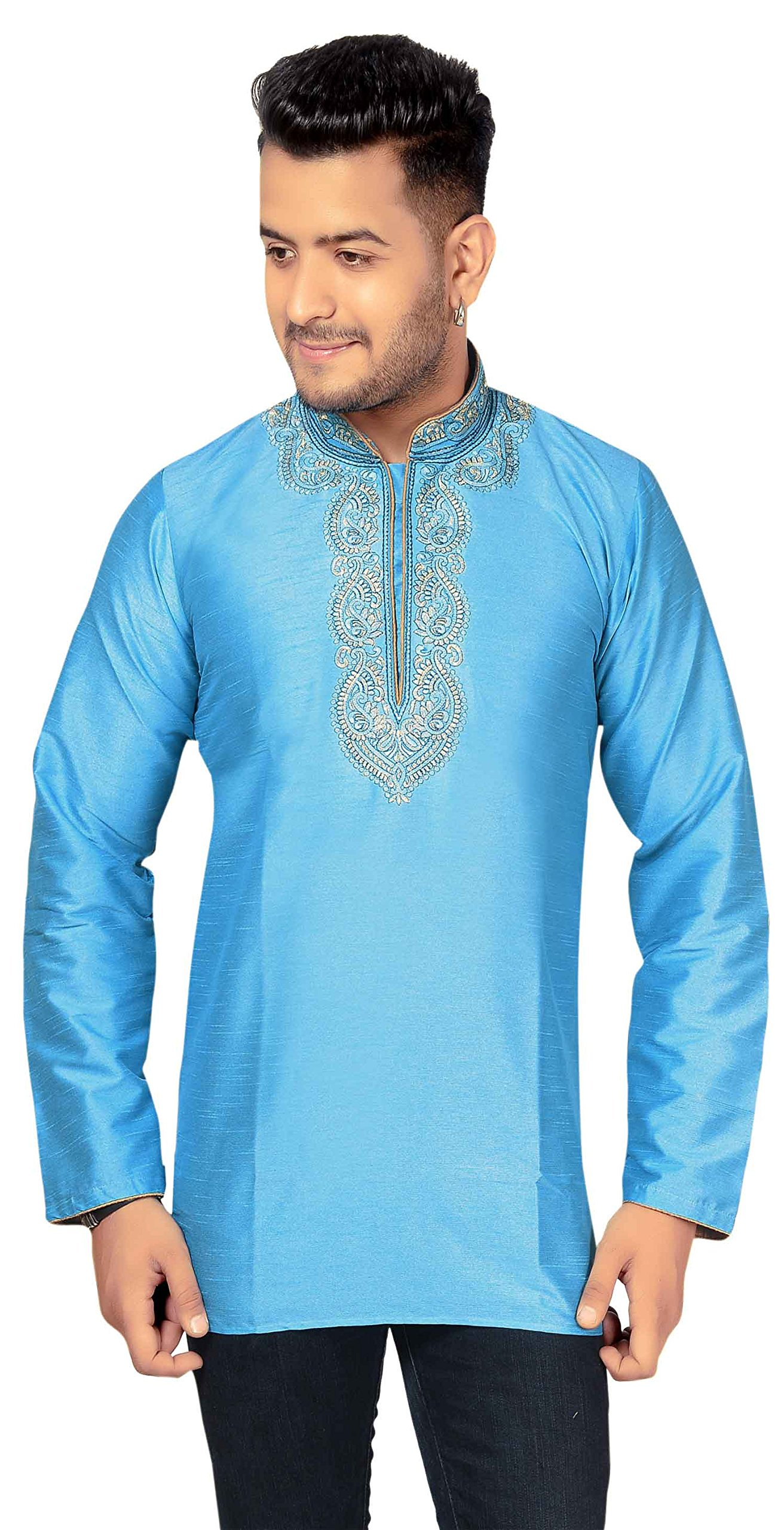 Men's Indian Kurta Costume Dress Short Tunic 2007 (XXXL (Chest- 46 inches), Turquoise)