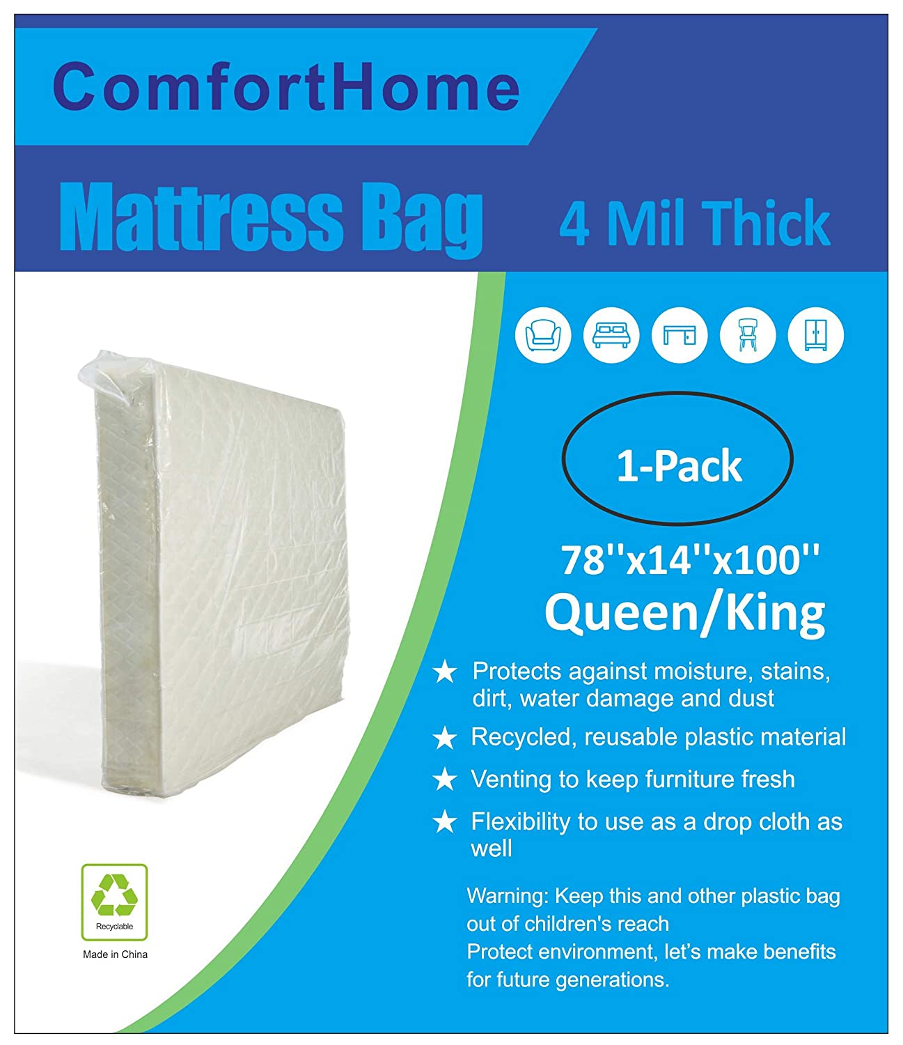 ComfortHome 4 Mil Extra Thick Mattress Bag