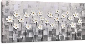 Yihui Arts Wall Art Pallet Knife Pictures Painting White Lily Bouquet of Flowers Oil Painting Floral Artwork Print on Wrapped Canvas for Walls