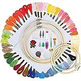 Koooper Punto Croce Kit Set Ricamo per Principianti con 50 Colori Fili da Ricamo ABS Cerchio e Accessori da Ricamo Usato per Ricamo - 5 pezzi Cerchi di Ricamo in Bambù - Mestieri