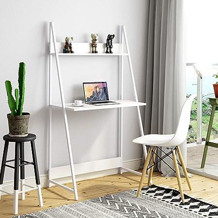 Joolihome - Escritorio para ordenador, 2 niveles con escalera, mesa para ordenador portátil con estante, para aprender a escribir o trabajar, para el hogar, oficina, dormitorio, dormitorio (blanco): Amazon.es: Hogar
