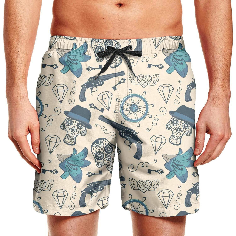 KIENENG Skull Diamond Guns Men Board Shorts Bathing Suit Plus Size