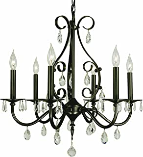 """product image for Framburg 2986 MB Liebestraum 6-Light Chandelier with Clear Crystal Accents, 24"""" x 24"""" x 24.5"""", Mahogany Bronze"""