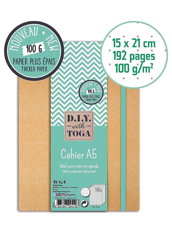 DIY with Toga SU107 - Agenda Bullet Journal, Cuaderno Kraft, 15,5 x 21,5 x 1,5 cm