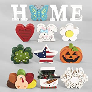 13 Piece Home Tabletop Decoration with Interchangeable Holiday Icons - White