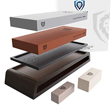 DALSTRONG Whetstone Kit - EXTRA LARGE #1000 Grit, 6000 Grit Stones - Nagura Stone & Rust Eraser - Stand Included
