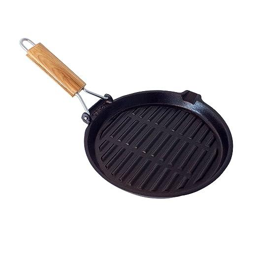 Big BBQ de Parrilla y Carne – Sartén de Hierro Fundido (22 cm) con Mango Fijo o Plegables, Madera, 4 Rund- Klappgriff