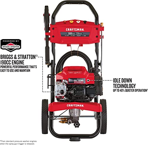 CRAFTSMAN CMXGWAS021022 3000 MAX PSI 2.5 MAX GPM Gas Pressure Washer Powered by Briggs Stratton 190cc Engine with Idle Down Technology, Made in USA with Global Materials