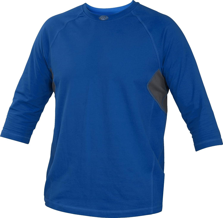Rawlings Youth 3 / 4スリーブパフォーマンスシャツ B013I2K754 Large|ロイヤル ロイヤル Large